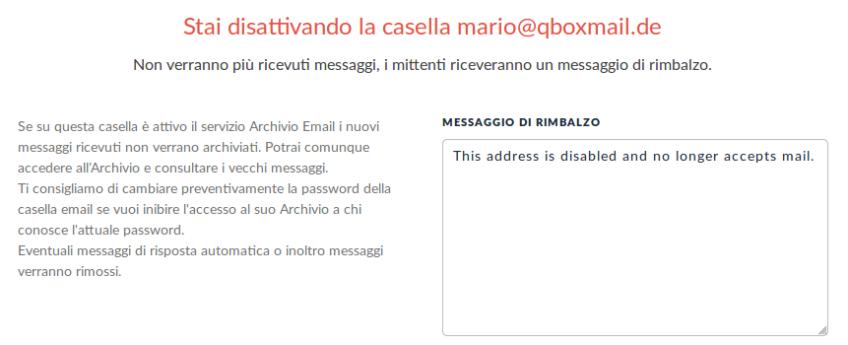 disattivazione caselle email privacy