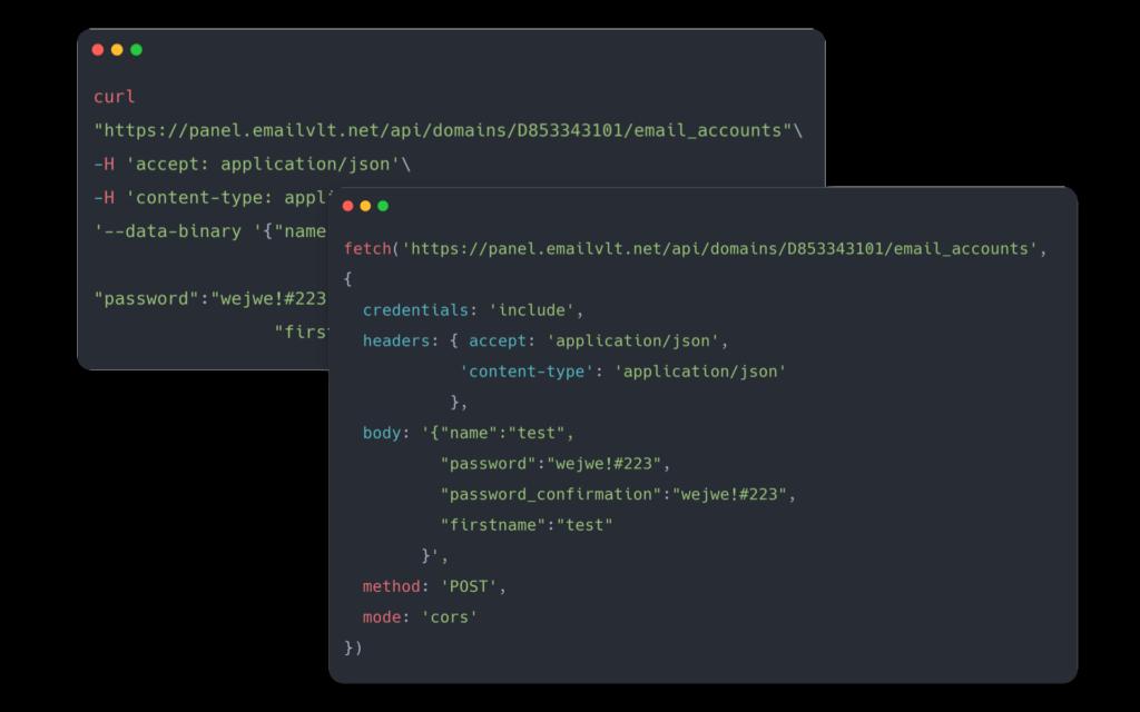 API Email esempio