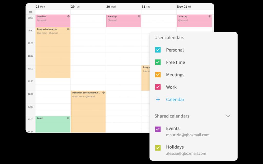 Webmail calendario Qboxmail