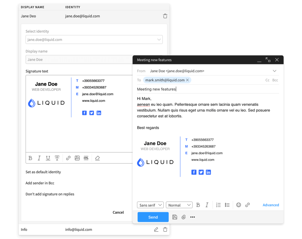 Firme email e gestione identità singoli utenti